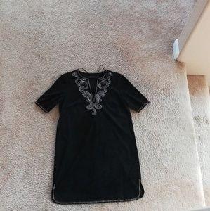 Brand New Zara Suede Effect Tunic Black Studded